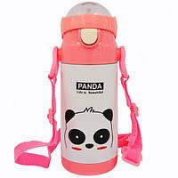 Детский термос-поилка STENSON Animal 500 ml Панда Розовая, КОД: 1250007