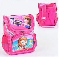 Школьный ортопедический каркасный рюкзак для девочки розовый, ранец портфель детский с принтом Принцесса София