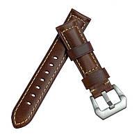 Кожаный ремешок Primolux F001 Steel buckle для часов Honor MagicWatch 2 46mm - Brown
