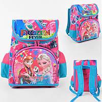 Школьный ортопедический каркасный рюкзак для девочки розовый , ранец портфель детский с прином Холодне серце