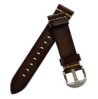 Кожаный ремешок Primolux C052B Steel buckle для часов Honor MagicWatch 2 46mm - Dark Brown