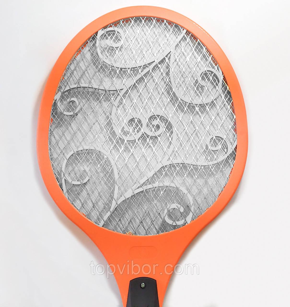 Електромухобійка на акумуляторі Помаранчева, електро ракетка від комарів | ракетка для убийства мух