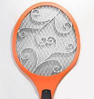Електромухобійка на акумуляторі Помаранчева, електро ракетка від комарів | ракетка для убийства мух, фото 1