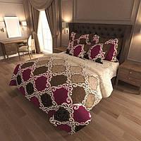 Полуторный комплект постельного белья Бордово-коричневый