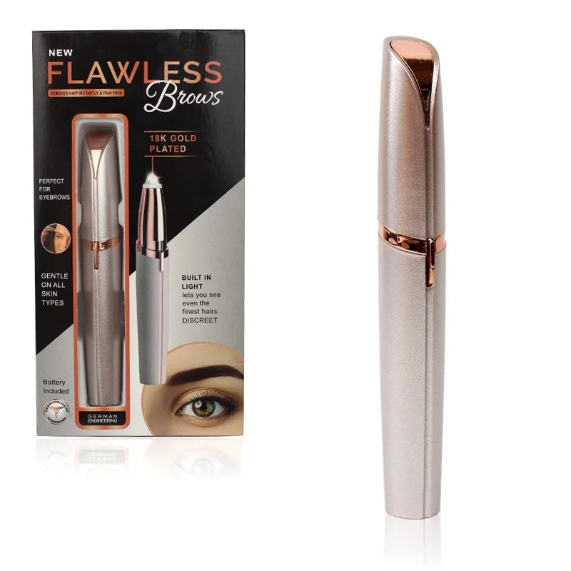 Женский тример для для придания формы бровей Flawless Brows розовый, эпилятор + депилятор для лица