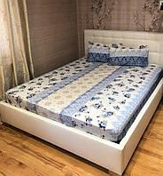 Простынь на резинке с наволочками 160*200 Ранфорс Турция Синяя, фото 1