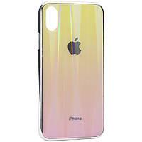 "TPU+Glass чехол Gradient Aurora с лого для Apple iPhone X / XS (5.8""), фото 1"