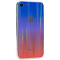 "TPU+Glass чехол Gradient Aurora с лого для Apple iPhone 7 / 8 (4.7""), фото 1"