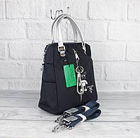 Стильный городской рюкзак сумка Prada 1721 синий с серебряными ручками, расцветки, фото 1