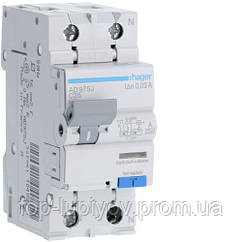 Дифференциальный автоматический выключатель 1P+N 6kA C-25A 30mA A, Hager AD975J