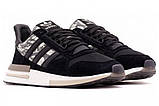 Мужские кроссовки Adidas ZX 500 в стиле адидас ЧЕРНЫЕ (Реплика ААА+), фото 3