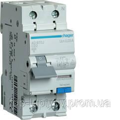Дифференциальный автоматический выключатель 1P+N 6kA C-20A 30mA A, Hager AD970J