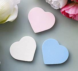 Спонжи для макияжа 3шт в наборе «Сердце» 8654