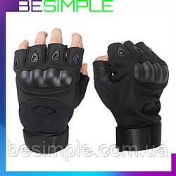 Тактичні рукавички Oakley / Військові з відкритими пальцями Чорний L