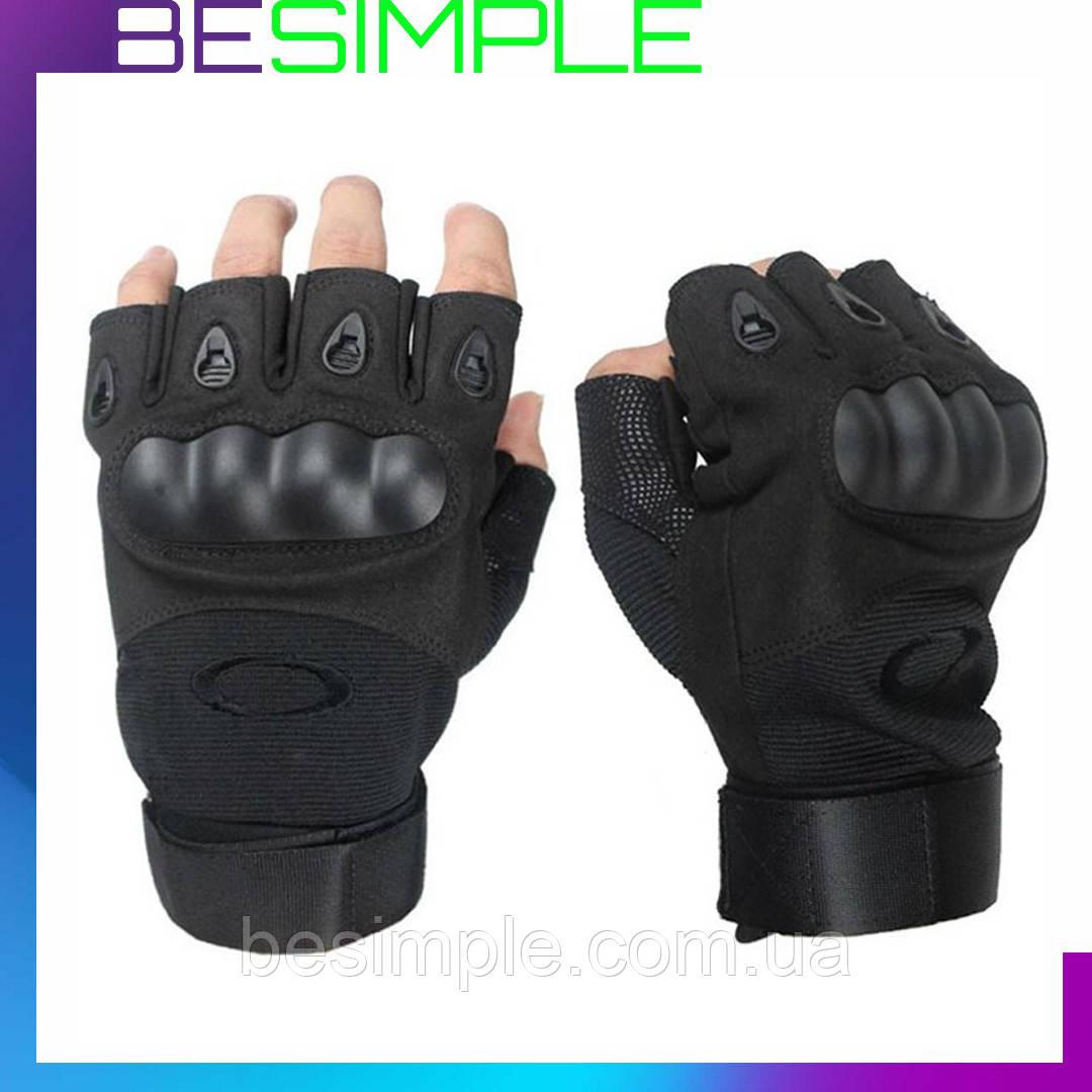Тактические перчатки Oakley / Военные с открытыми пальцами + Подарок