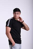 Футболка чёрная с двойными лампасами Adidas duo, фото 1