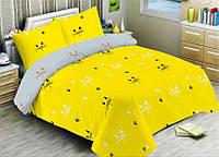 Двухспальное постельное бельё из бязи. Простынь на резинке.