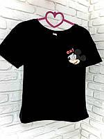 Футболка черная с принтом Mickey Mouse OX!, фото 1