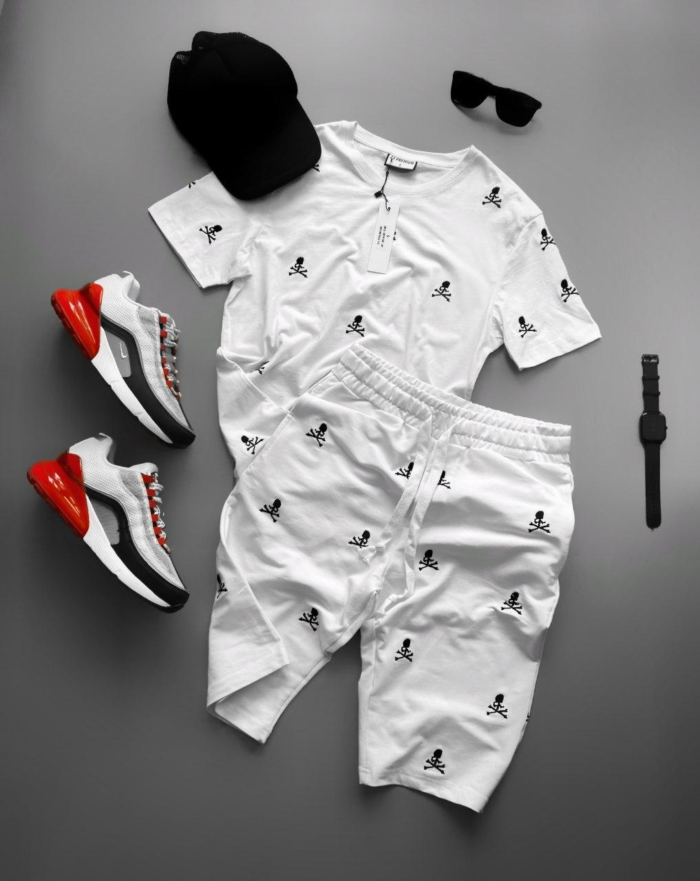 😜 Шорты - Мужской комплект шорты и футболка белого цвета с нашивками