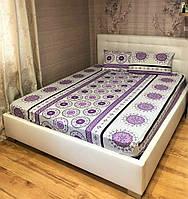 Простынь на резинке с наволочками 160*200 Ранфорс Турция Фиолетовая, фото 1