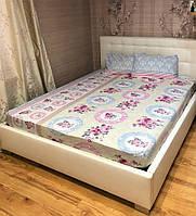 Простынь на резинке с наволочками 160*200 Ранфорс Турция Розово голубая, фото 1