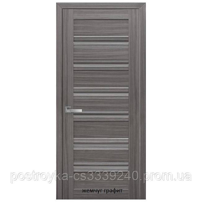 Двери межкомнатные Итальяно Венеция С1 Новый Стиль ПВХ со стеклом графит 60, 70, 80, 90