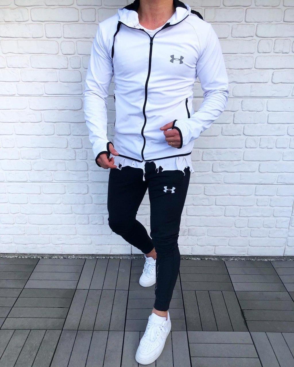 😜 Спортивний костюм -Стильний чоловічий спортивний костюм (білий верх, чорний низ)