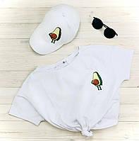 """Комплект Белый Кепка+ футболка """"Авокадо"""", фото 1"""