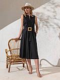 Однотонное  платье миди приталенного силуэта с поясом  ЛЕТО, фото 6
