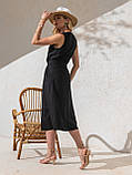 Однотонное  платье миди приталенного силуэта с поясом  ЛЕТО, фото 7