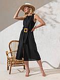 Однотонное  платье миди приталенного силуэта с поясом  ЛЕТО, фото 4