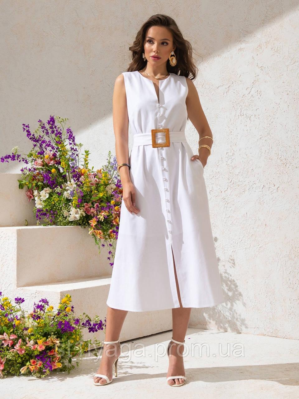 Однотонное  платье миди приталенного силуэта с поясом  ЛЕТО