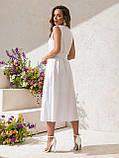 Однотонное  платье миди приталенного силуэта с поясом  ЛЕТО, фото 3