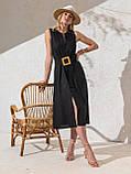 Однотонное  платье миди приталенного силуэта с поясом  ЛЕТО, фото 5