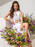 Однотонное  платье миди приталенного силуэта с поясом  ЛЕТО, фото 2