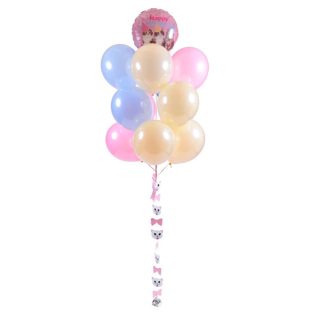 Связка: круг Котята Happy birthday, 12 шаров зеркальных и гирлянда Мордочки-лапки