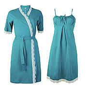 Комплект хлопковый с кружевом двойка халат и ночная рубашка Изумруд в роддом