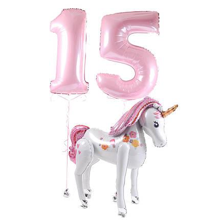 Фигура ходячая единорог и цифры 15 розовые., фото 2