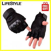 Тактические перчатки с открытыми пальцами Oakley + Подарок! Нож-визитка