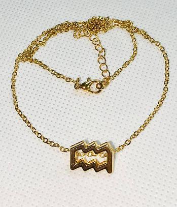 Колье Primo с подвеской знак зодиака Aquarius (Водолей) - Gold