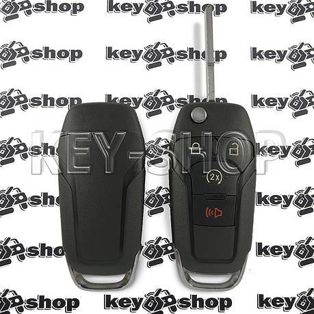 Корпус выкидного авто ключа для Ford F150, F250 (Форд Ф150, Ф250) 3+1 кнопки, лезвие HU101, фото 2