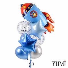 Связка с синей ракетой, звездами и сине-серебряными шарами