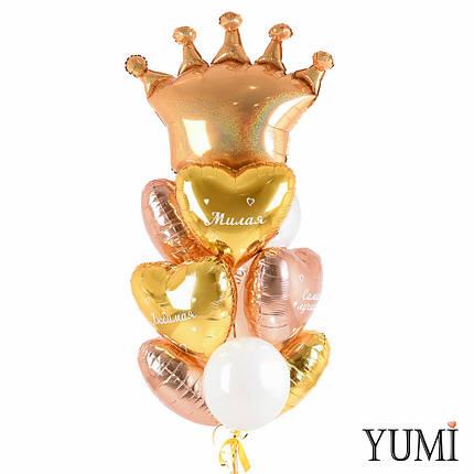 Фольгированные шары сердца с гелием с комплиментами для любимой в связке с белыми шарами и золотой короной, фото 2