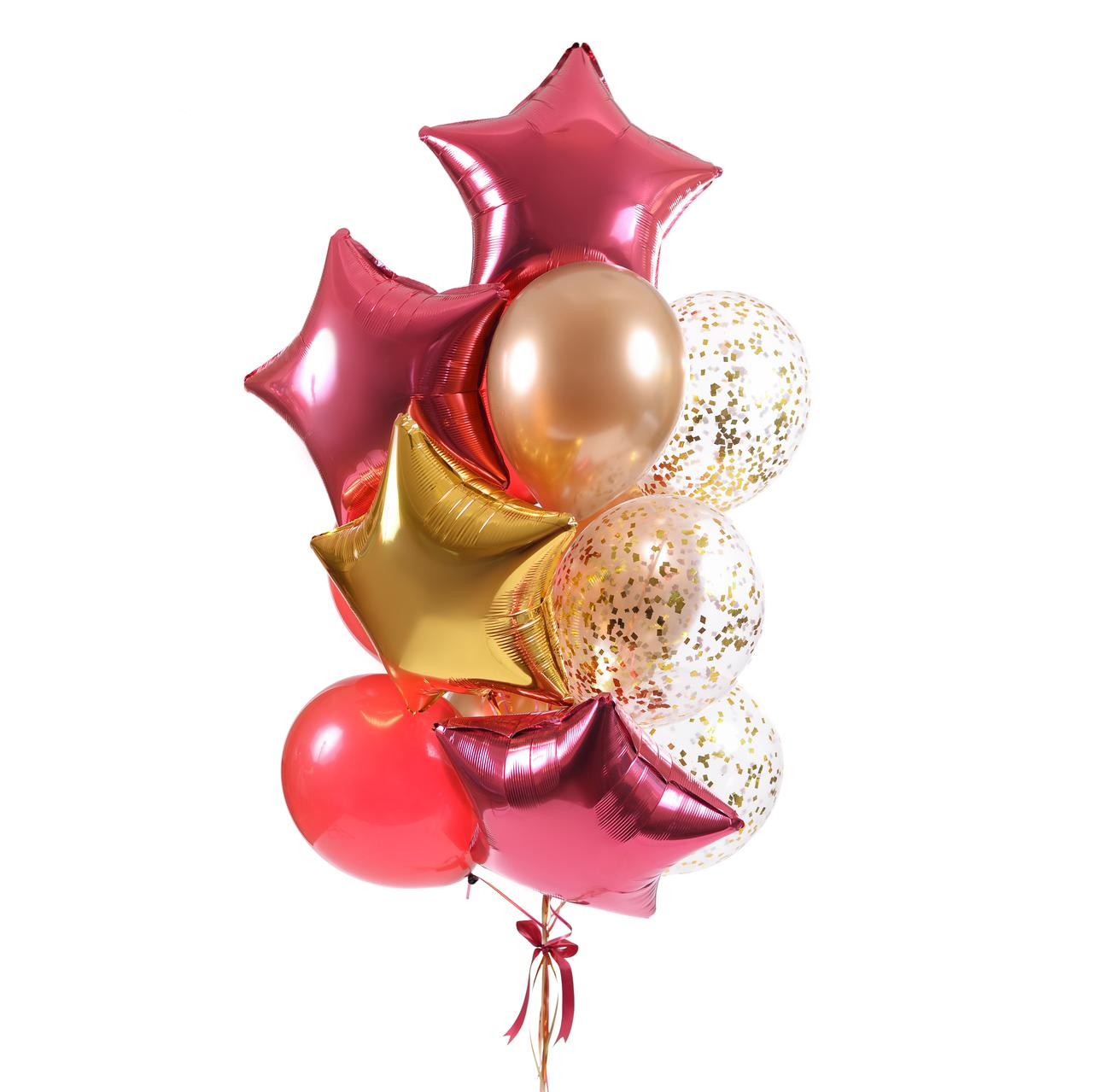3 звезды бургундия, 1 звезда золото, 3 шара бургундия кристалл, 3 шара золото хром, 3 шара с золотым конфетти.