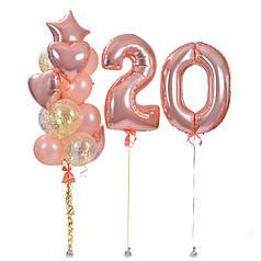 Композиция для девушки с шарами цифрами и фонтаном из шаров в цвете розовое золото
