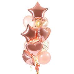 Связка из воздушных шаров для девушки в подарок на День рождения с сердцами и звездами в розовом золоте