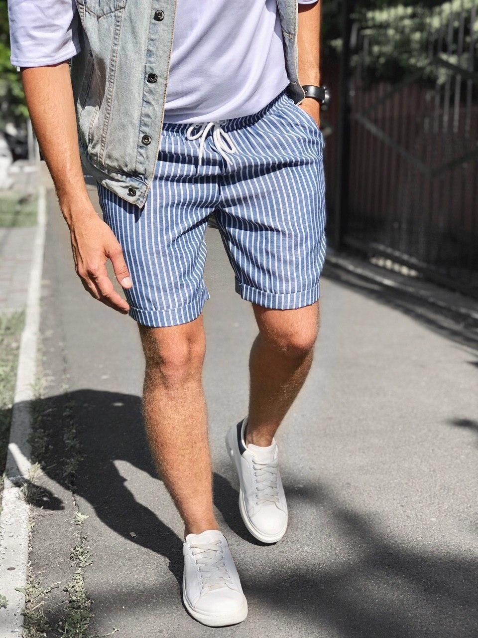 😜 Шорты - Мужские  шорты коттон (голубые) в полоску