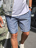 😜 Шорты - Мужские  шорты коттон (голубые) в полоску, фото 4