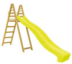 Горка для спуска 3 метра alfa с деревянной лестницей