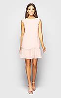 Прямое летнее платье без рукава с оборкой из сетки в горошек 45031314